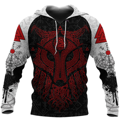 Viking Wolf and Raven Hoodie Valknut Runes Red Front | 1stIceland