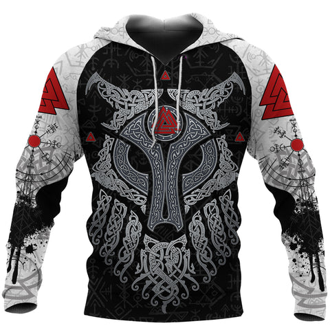 Image of Viking Wolf and Raven Hoodie Valknut Runes Front | 1stIceland