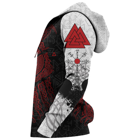 Viking Wolf and Raven Zip Up Hoodie Valknut Runes Red Sleeves | 1stIceland