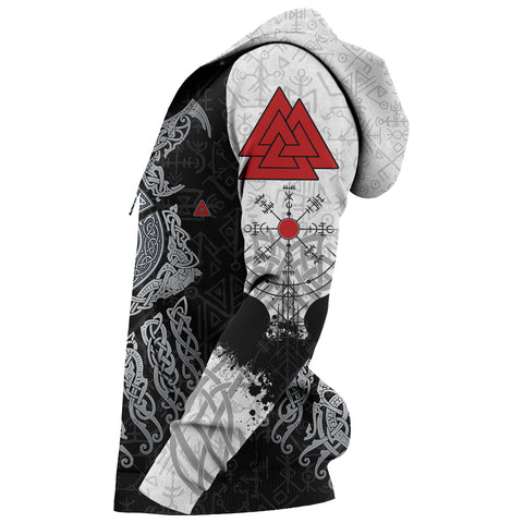 Viking Wolf and Raven Zip Up Hoodie Valknut Runes Sleeves | 1stIceland