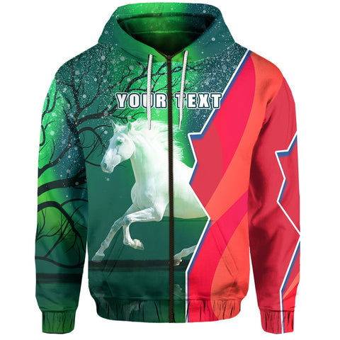 (Custom Personalised) 1stIceland Horse Zip Hoodie Northern Lights Front | 1sticeland.com