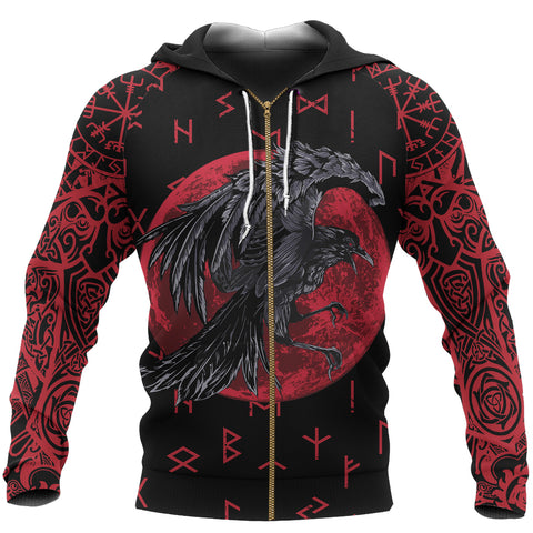 1stIceland Viking Zip Up Hoodie, Raven Of Odin with Blood Moon Th5 - 1st Iceland