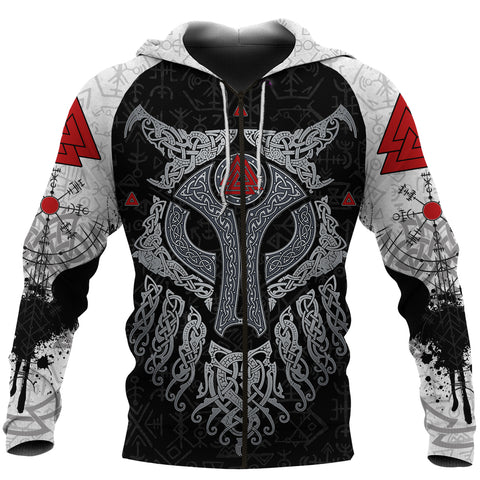 Viking Wolf and Raven Zip Up Hoodie Valknut Runes K13 - 1st Iceland