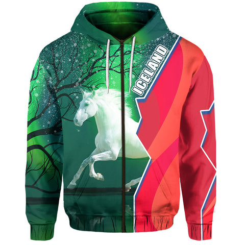 1stIceland Horse Zip Hoodie Northern Lights Front | 1sticeland.com