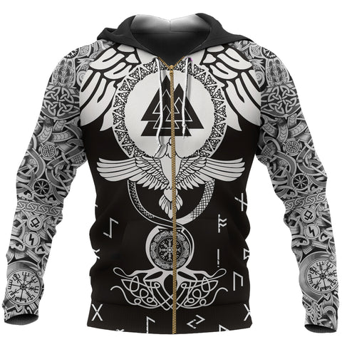 1stIceland Viking Zip Up Hoodie, Raven Of Odin Flying Tattoo and Valknut TH00 - 1st Iceland