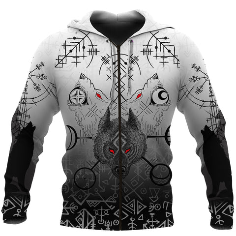 1stIceland Viking Wolf Zip Up Hoodie Runes Special Front | 1stIceland