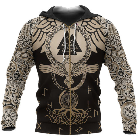 1stIceland Viking Zip Up Hoodie, Raven Of Odin Flying Tattoo and Valknut Gold TH00 - 1st Iceland