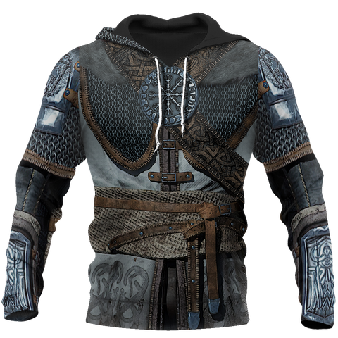 1stIceland Viking Pullover Hoodie, 3D Vikings Armor with Helm Of Awe Th00 - 1st Iceland