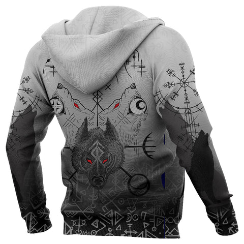 1stIceland Viking Wolf Zip Up Hoodie Runes Special K13