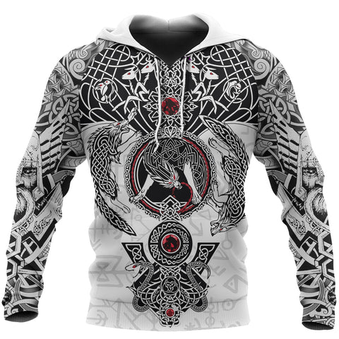 Image of 1stIceland Viking Hoodie, Fenrir Skoll And Hati Valknut White TH00 - 1st Iceland