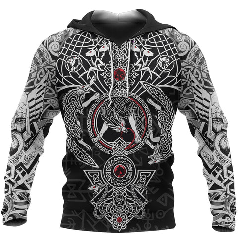 Image of 1stIceland Viking Hoodie, Fenrir Skoll And Hati Valknut Yggrasil TH00 - 1st Iceland