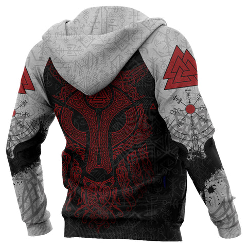 Viking Wolf and Raven Zip Up Hoodie Valknut Runes Red | 1stIceland