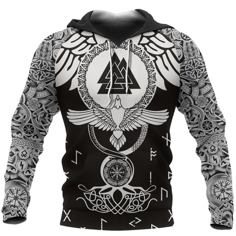 1stIceland Viking Pullover Hoodie, Flying Tattoo And Valknut TH00 - 1st Iceland