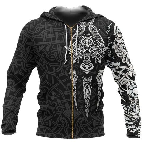 Image of 1stIceland Viking Zip Up Hoodie, Fenrir The Vikings Wolves Th00 Black - 1st Iceland