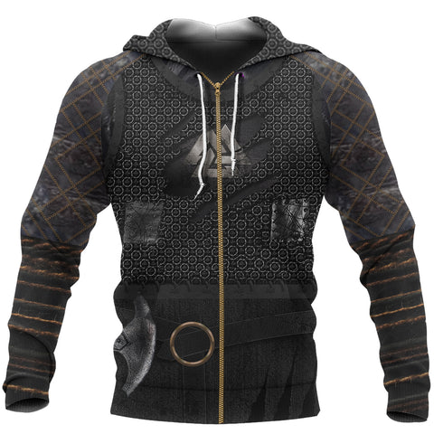 1stIceland Viking Zip Up Hoodie, New Valknut 3D Viking Armour Th00 - 1st Iceland