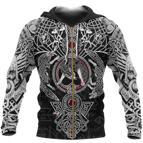 Image of 1stIceland Viking Zip Up Hoodie, Fenrir Skoll And Hati Valknut TH00 - 1st Iceland