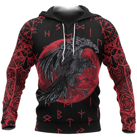 1stIceland Viking Pullover Hoodie, Raven Of Odin with Blood Moon Th5 - 1st Iceland