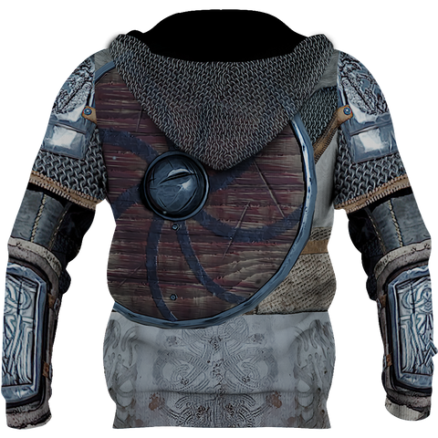 Image of 1stIceland Viking Zip Up Hoodie, 3D Vikings Armor with Helm Of Awe Th00 - 1st Iceland