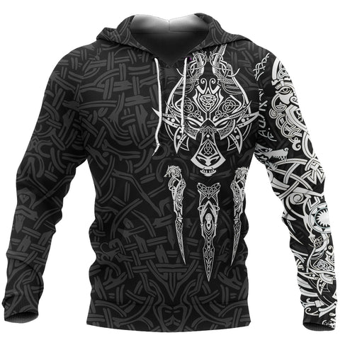 1stIceland Viking Hoodie, Fenrir The Vikings Wolves Th00 Black - 1st Iceland