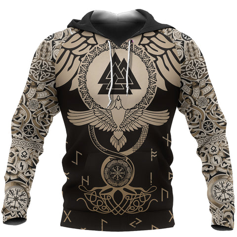 1stIceland Viking Pullover Hoodie, Raven Of Odin Flying Tattoo And Valknut Gold TH00 - 1st Iceland