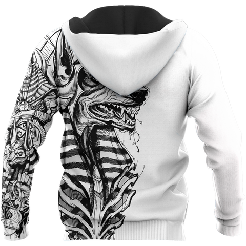 Image of 1st Iceland Ancient Egypt Anubis Tattoo Zip Hoodie