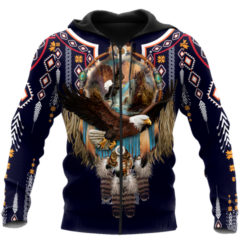 1st Iceland Eagle Fly Dreamcatcher Native American Zip Hoodie TH12 - 1st Iceland