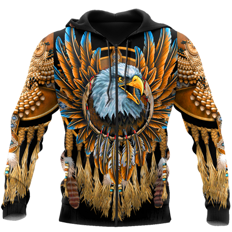 1sticeland Beautiful Eagle Dreamcatcher Native American Zip Hoodie TH12 - 1st Iceland