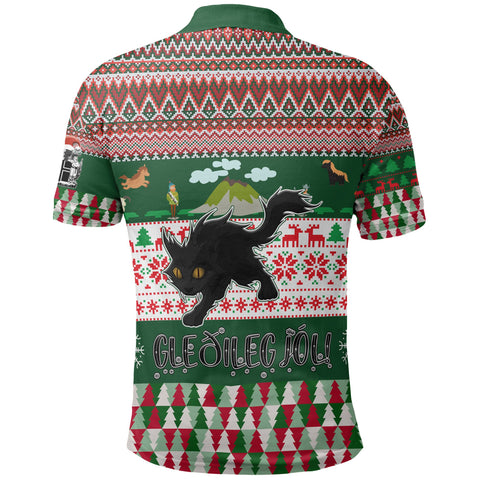 Image of 1stIceland Christmas Polo T-Shirts,  Yule Cat Gleðileg Jól K7 - 1st Iceland
