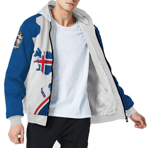 1stIceland Sherpa Hoodie, Ísland FLag Map Coat Of Arms K7 - 1st Iceland