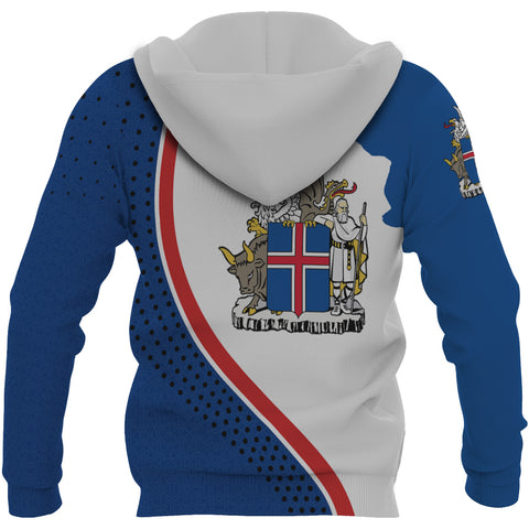 1stIceland Zip Up Hoodie, Ísland Flag Map Coat Of Arms K7 - 1st Iceland