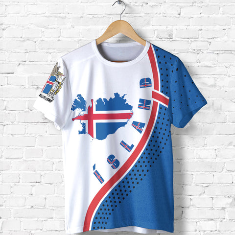 Image of 1stIceland T-Shirt, Ísland Flag Map Coat Of Arms K7 - 1st Iceland