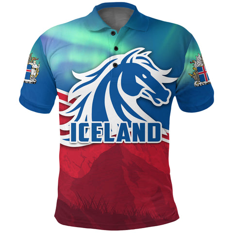Image of 1stIceland Icelandic Horse Polo Shirt Aurora Mountain K4 - 1st Iceland