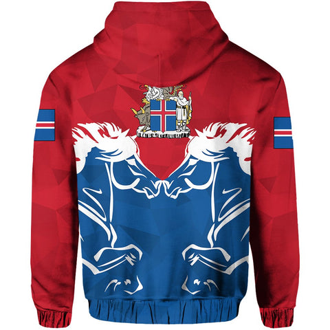 1stIceland Pullover Hoodie, Horse Coat Of Arms Couple Style K4 - 1st Iceland