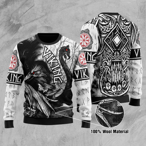 1stIceland Viking Printed 100% Wool Material Sweater Raven And Drakkar TH12 - 1st Iceland