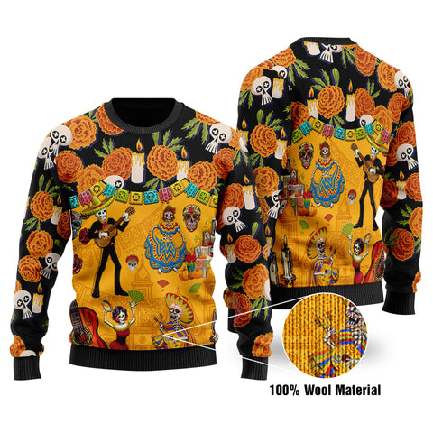 1stIceland Viking Mexican Día de Muertos Cempasúchil Flowers Bridge 100% Wool Material Sweater K8 - 1st Iceland