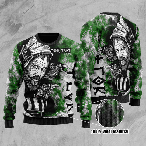 (Custom) 1stIceland Viking Floki Printed 100% Wool Material Sweater Art Style - Green TH12 - 1st Iceland
