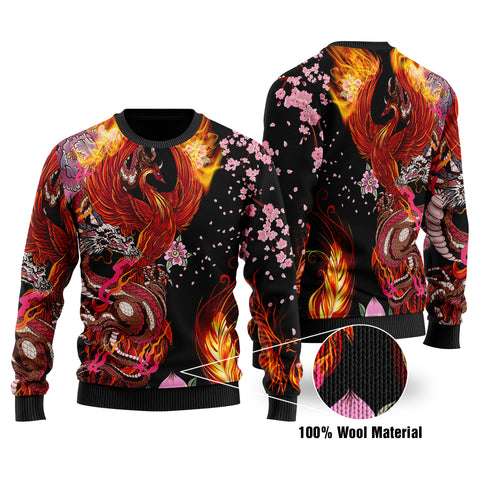 1stIceland Viking Phoenix 100% Wool Material Sweater Dragon With Cherry Blossom K8 - 1st Iceland