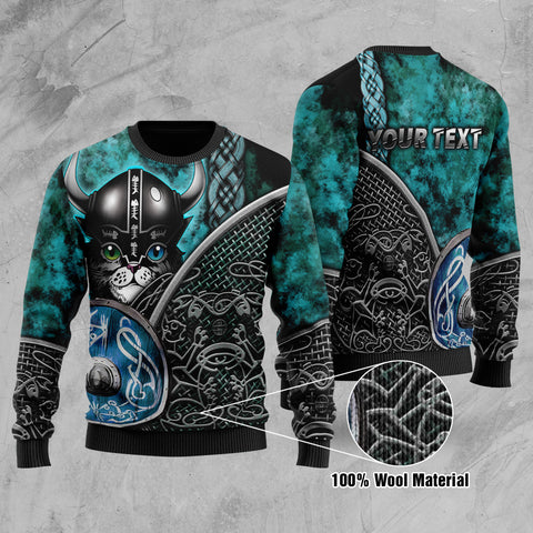 (Custom) 1stIceland Viking Printed 100% Wool Material Sweater Modern Cat Version TH12 - 1st Iceland