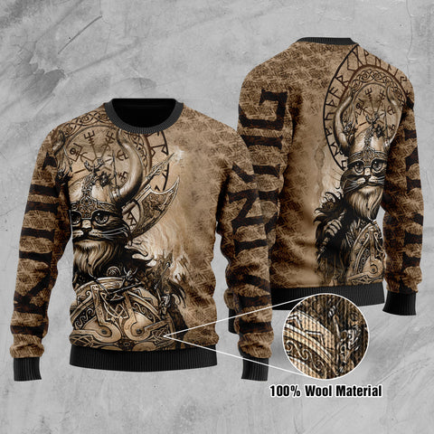 1stIceland Viking Printed 100% Wool Material Sweater Classic Cat Version TH12 - 1st Iceland