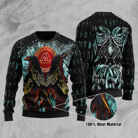 1stIceland Viking Printed 100% Wool Material Sweater Raven Moon Tattoo TH12 - 1st Iceland