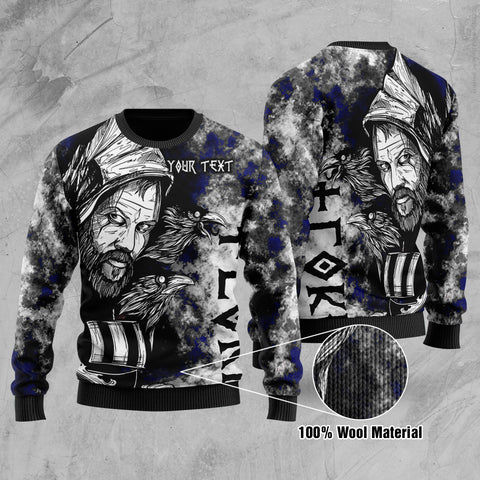 (Custom) 1stIceland Viking Floki Printed 100% Wool Material Sweater Art Style - Blue TH12 - 1st Iceland