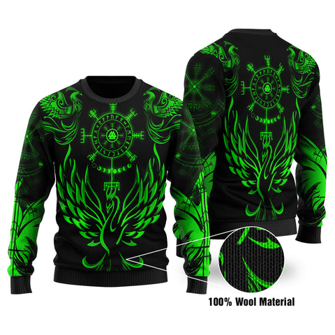 1stIceland Viking Phoenix Vegvisir 100% Wool Material Sweater Helm of Awe With Valknut - Green K8 - 1st Iceland