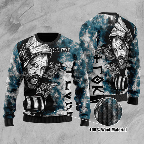 (Custom) 1stIceland Viking Floki Printed 100% Wool Material Sweater Art Style - Turquoise TH12 - 1st Iceland