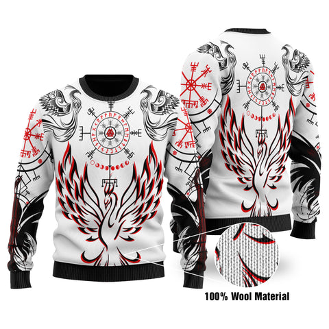 1stIceland Viking Phoenix Vegvisir 100% Wool Material Sweater Helm of Awe With Valknut - White K8 - 1st Iceland
