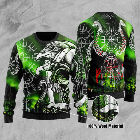 1stIceland Viking Printed 100% Wool Material Sweater Drakkar And Northern Lights TH12 - 1st Iceland
