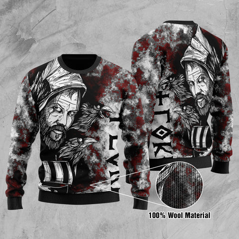 (Custom) 1stIceland Viking Floki Printed 100% Wool Material Sweater Art Style TH12 - 1st Iceland