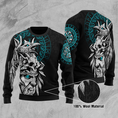 1stIceland Viking Odin And Raven Turquoise Hoodie  100% Wool Material Sweater TH12 - 1st Iceland