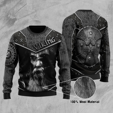1stIceland Viking Printed 100% Wool Material Sweater Odin Armor | 1sticeland.com