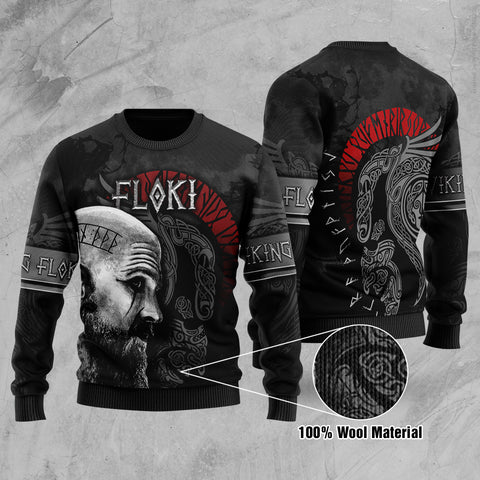 1stIceland Viking Floki Printed 100% Wool Material Sweater | 1sticeland.com