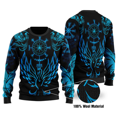 1stIceland Viking Phoenix Vegvisir 100% Wool Material Sweater Helm of Awe With Valknut - Turquoise K8 - 1st Iceland